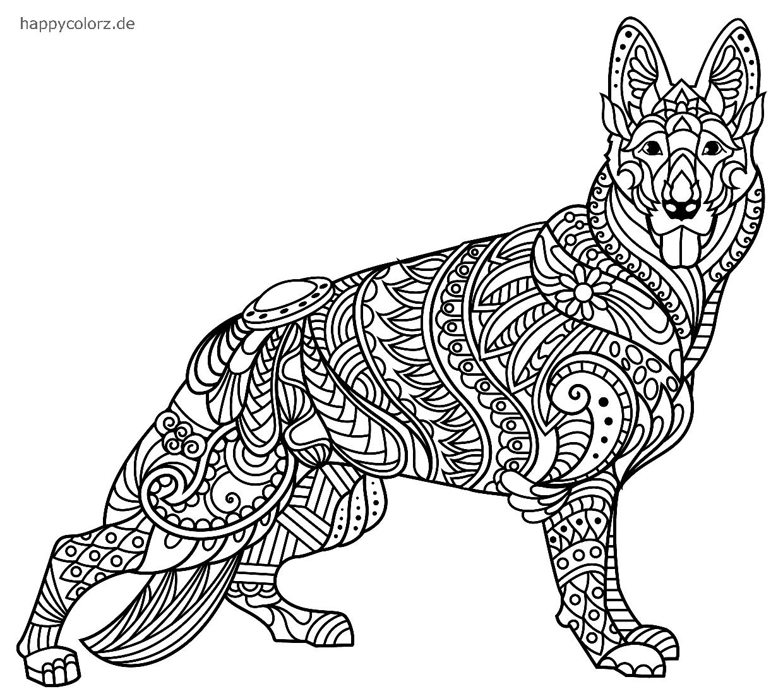 Mandala Deutscher Schäferhund zum ausmalen