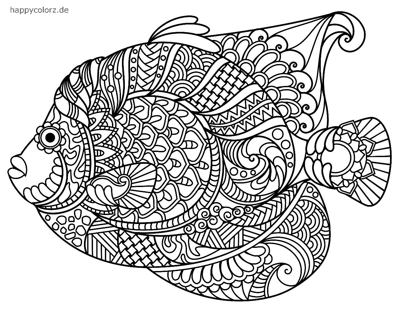 Mandala Fisch Ausmalbild