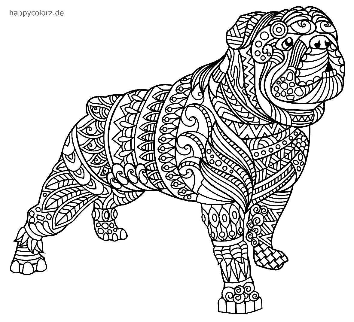 Mandala Hund Bulldogge Vorlage