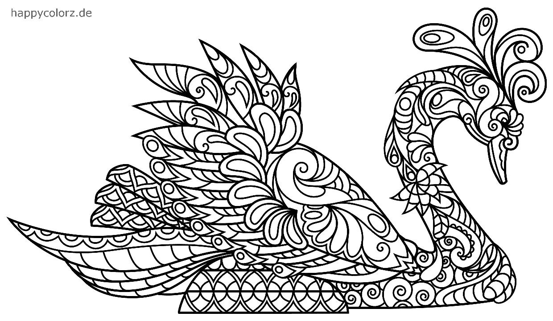 Mandala Schwan zum ausmalen