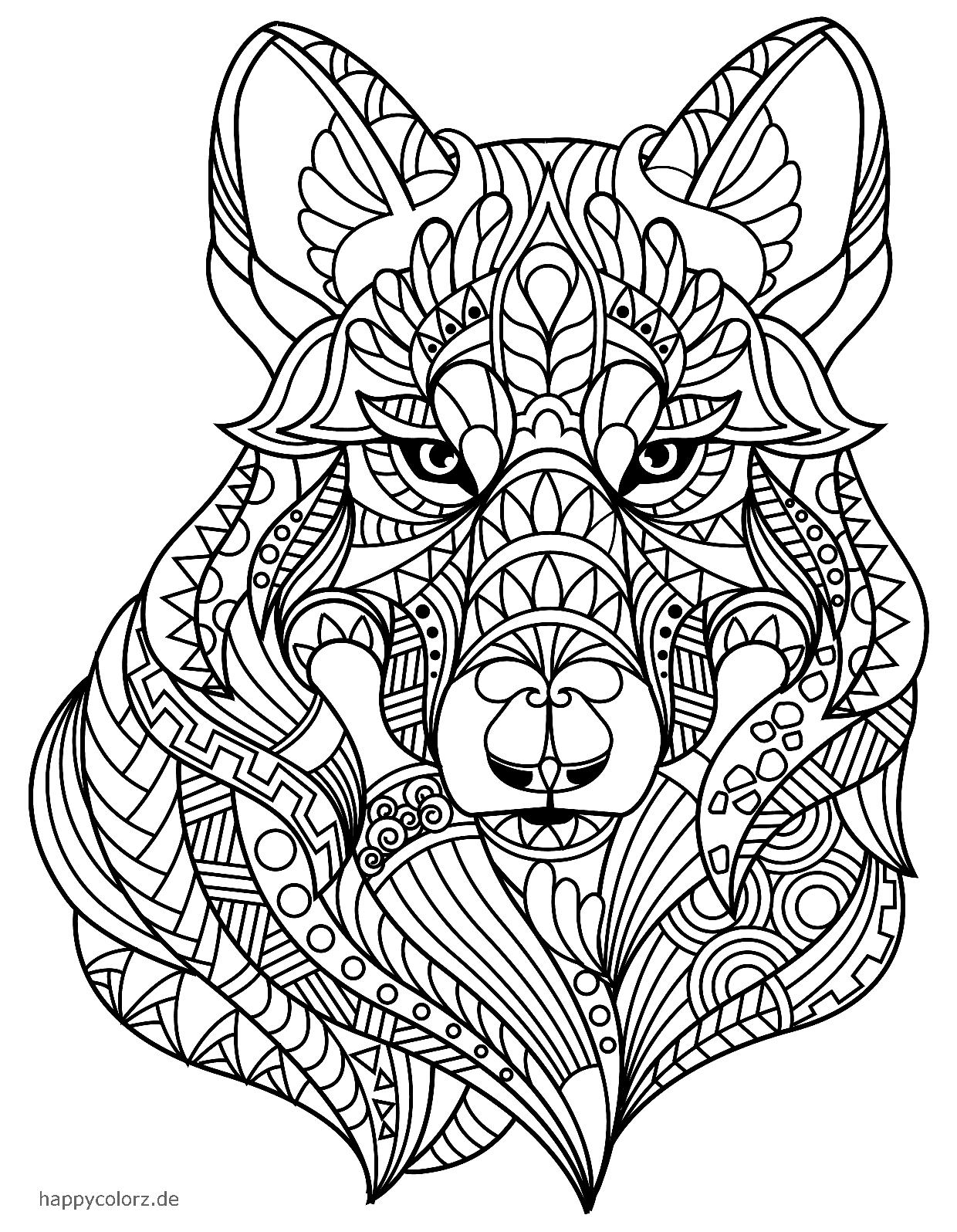 Mandala Wolf zum ausdrucken