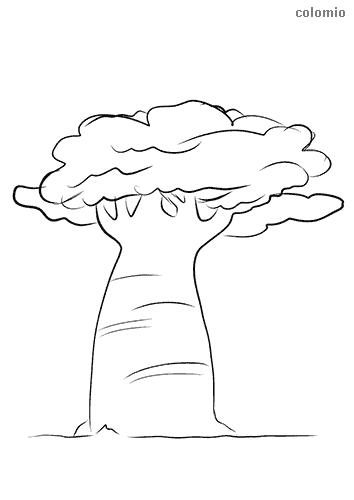Baum mit kräftigem Stamm Ausmalbild