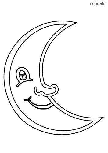 lachender Mond Malvorlage