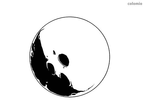 Mond mit dunkler Seite Malvorlage