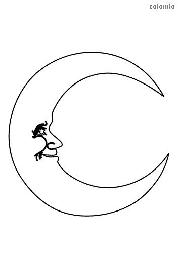 Mond mit Gesicht Malvorlage