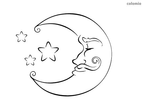 Mond mit Schnurrbart Malvorlage