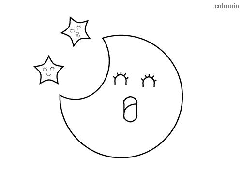 Mond mit Sternen Ausmalbild