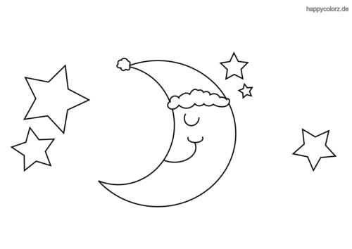 Schlafender Mond mit Mütze Ausmalbild