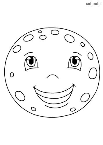 Vollmond mit Gesicht Malvorlage