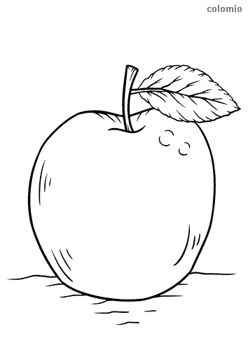 Apfel mit Stiel Ausmalbild