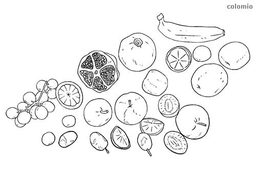 Apfel Kiwi Banane Trauben Obst Malvorlage
