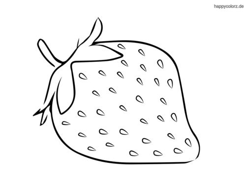 Erdbeere mit Stiel Ausmalbild