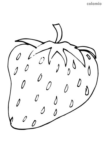 Erdbeere mit Strunk Ausmalbild