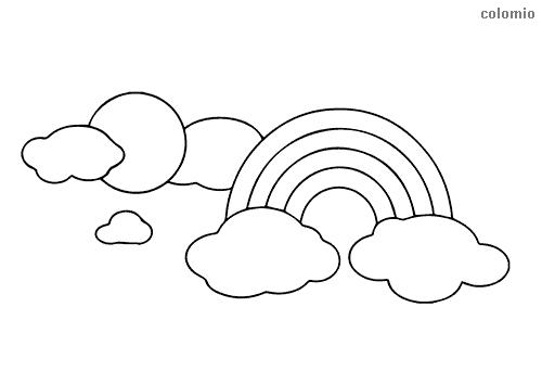 Regenbogen mit Wolken und Sonne Ausmalbild