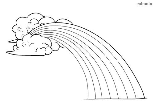 Regenbogen mit Wolken Ausmalbild