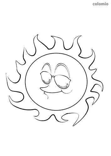 Lachende Sonne mit Brille Ausmalbild