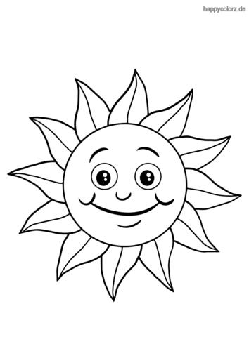 Lachende Sonne Ausmalbild