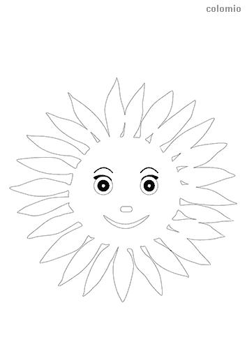 Sonne mit Gesicht Ausmalbild
