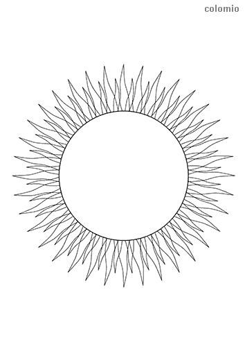 Sonne mit vielen Strahlen Ausmalbild