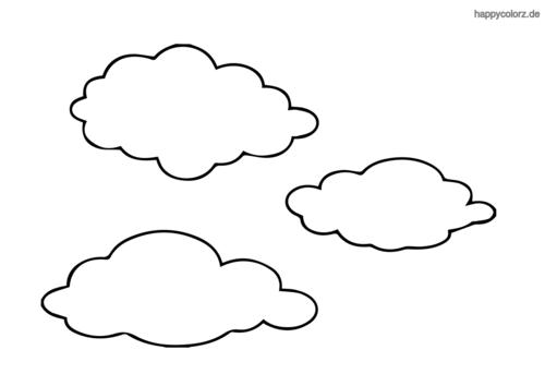 Einfaches Wolken Trio Ausmalbild