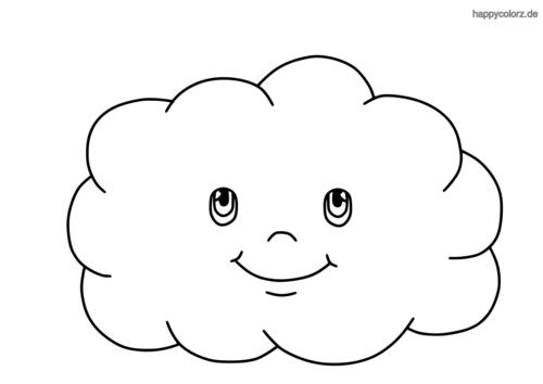 Wolke mit Gesicht Ausmalbild