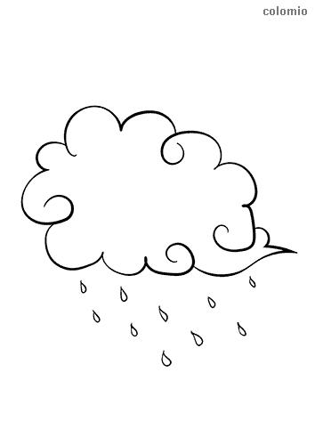 Wolke mit Regen Ausmalbild