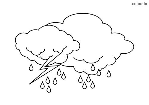 Wolken mit Blitz und Regen Ausmalbild