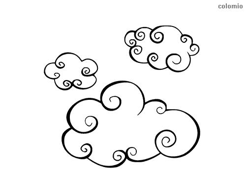Wolken Trio mit Kreiseln Ausmalbild