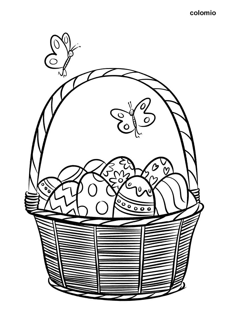 Ausmalbild Korb mit bunten Ostereiern