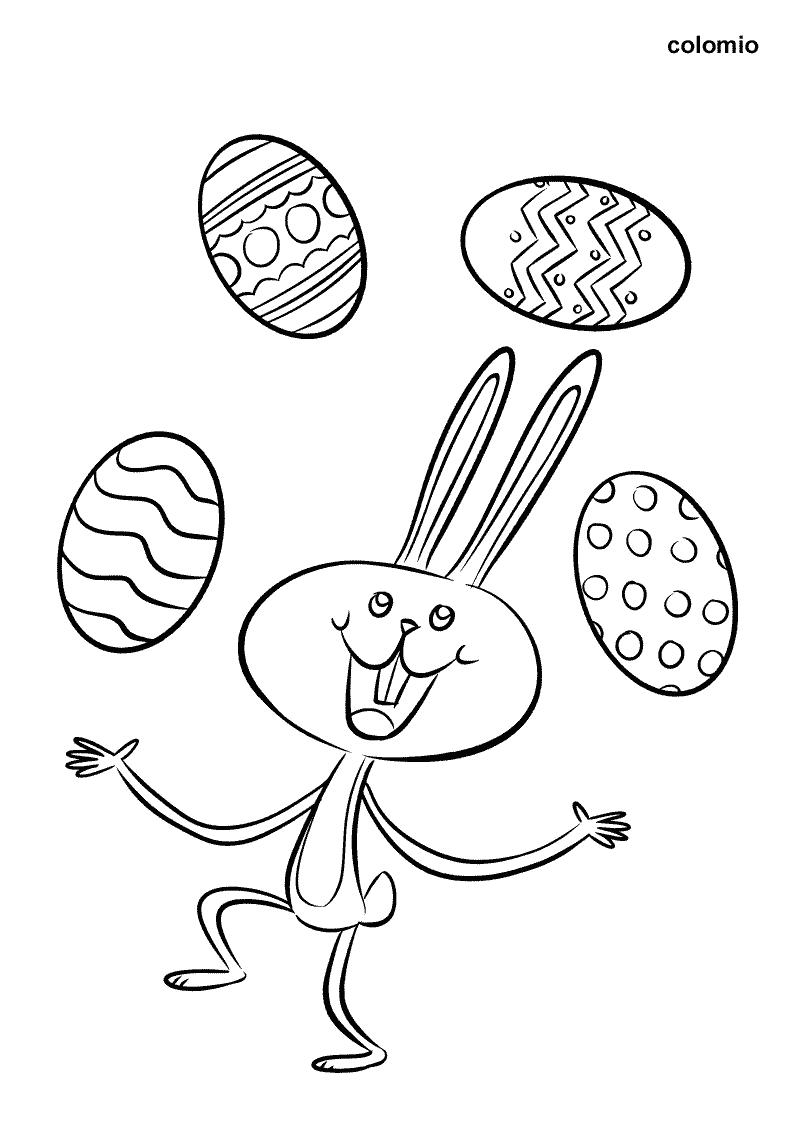 Osterhase mit Eiern Malvorlage