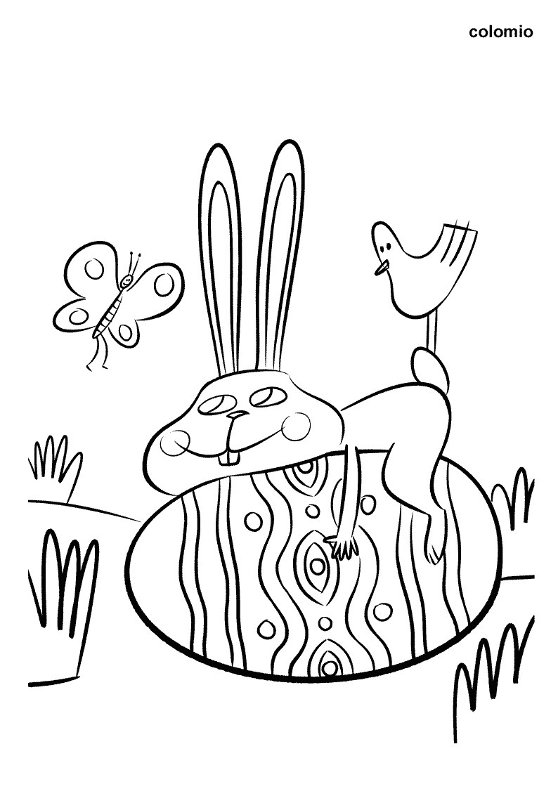 Osterhase mit Schmetterling und Küken Ausmalbild