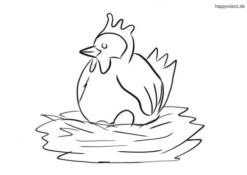 Brütende Henne