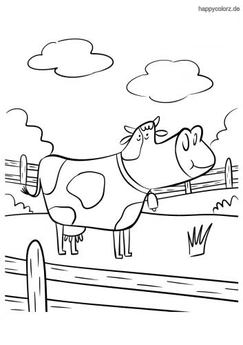 Kuh am Zaun Ausmalbild