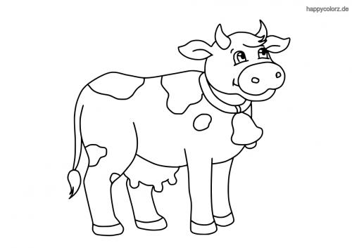 Kuh mit Glocke und Hörnern Ausmalbild