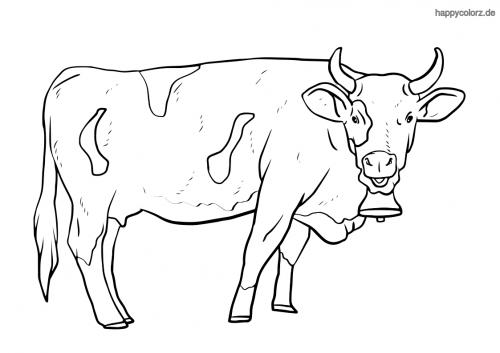 Kuh mit Hörnern und Glocke Ausmalbild