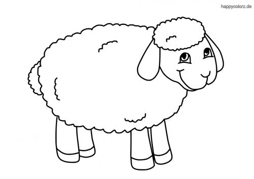 Einfaches lachendes Schaf Malvorlage
