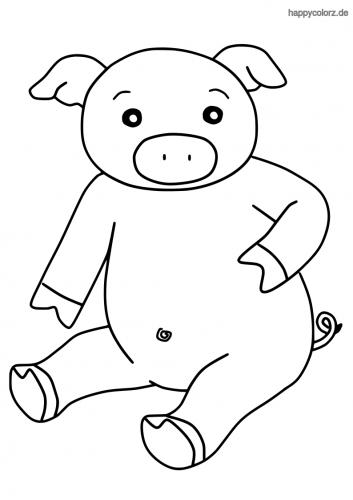 Sitzendes Schwein Ausmalbild
