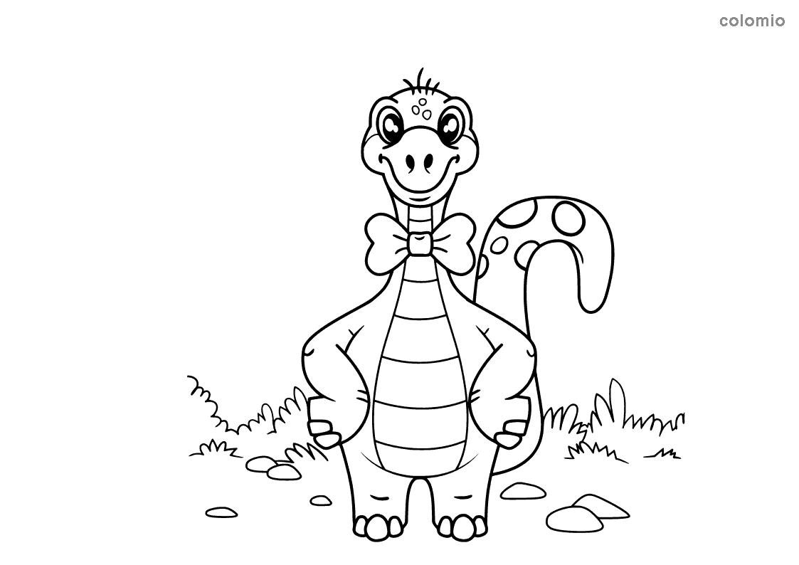 Dino mit Fliege Malvorlage