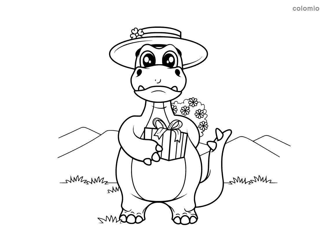 Dino mit Geschenk und Hut Ausmalbild