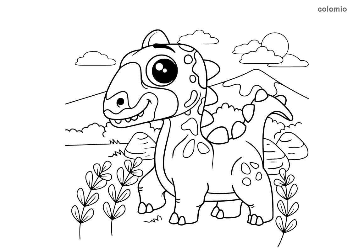 Dino mit grossen Augen Malvorlage