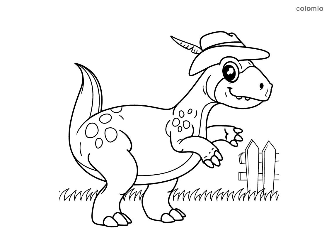 Dino mit Hut Ausmalbild