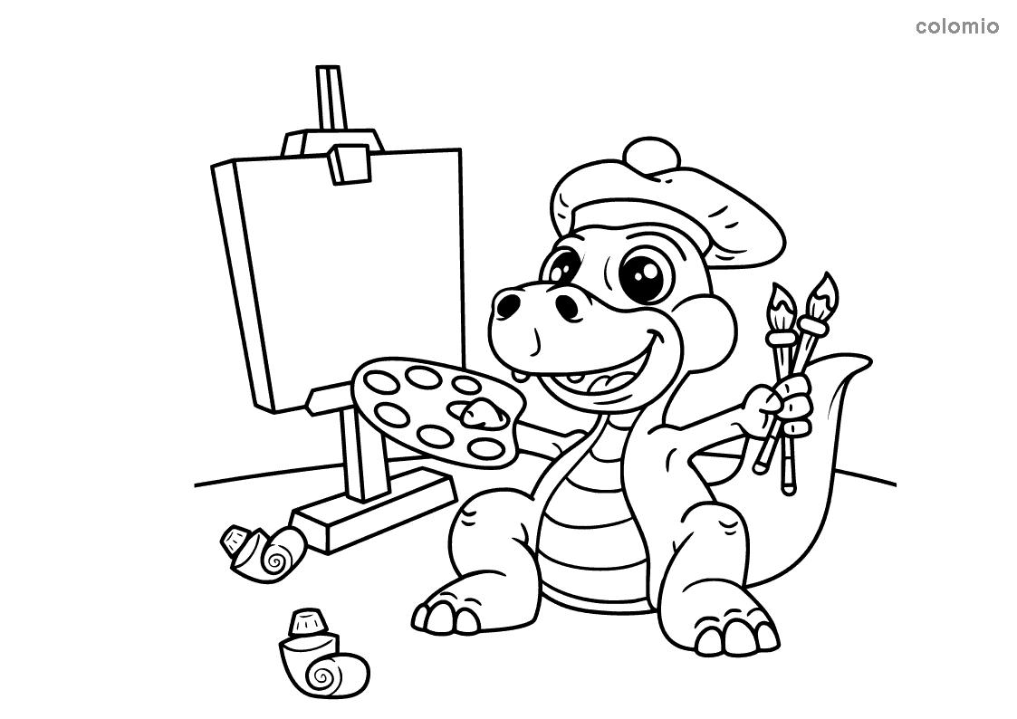 Dino mit Staffelei Ausmalbild