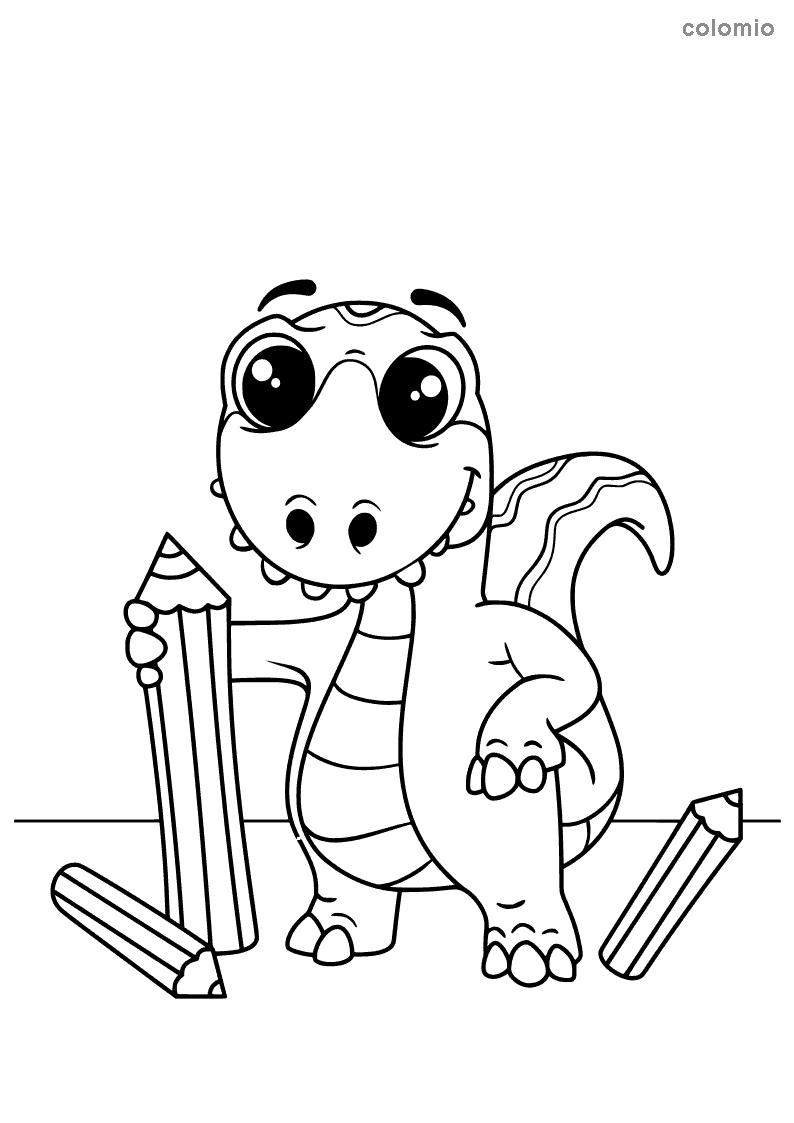 Dino mit Stiften Malvorlage