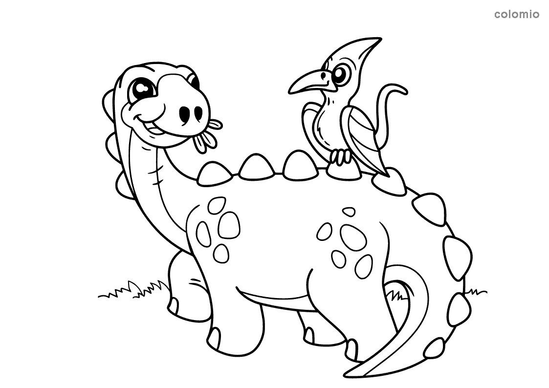 Dino mit Vogel Ausmalbild