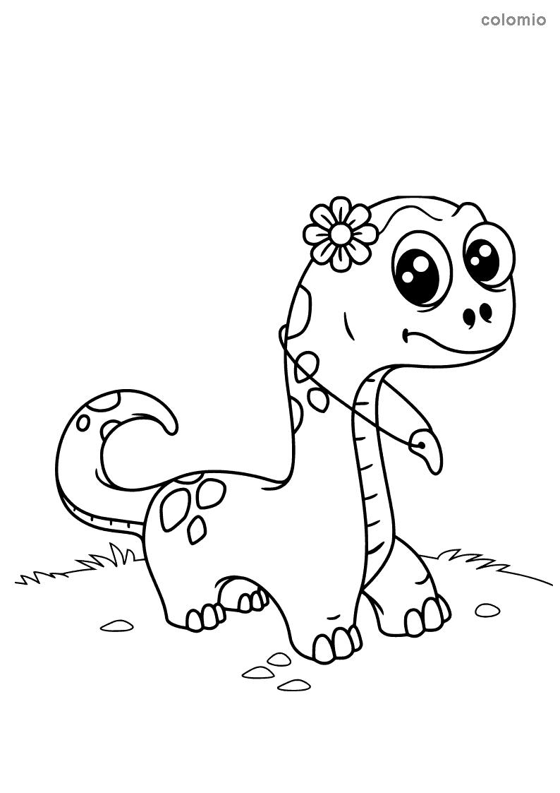Kleiner Dino mit Kette Ausmalbild