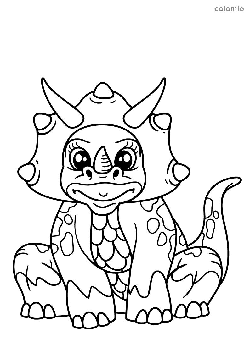 sitzender Triceratops Malvorlage