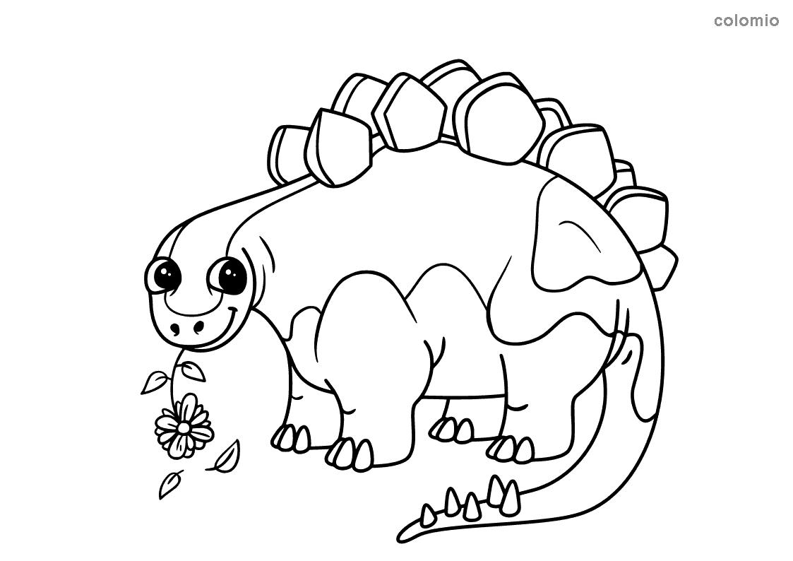 Stegosaurus mit Blume Malvorlage