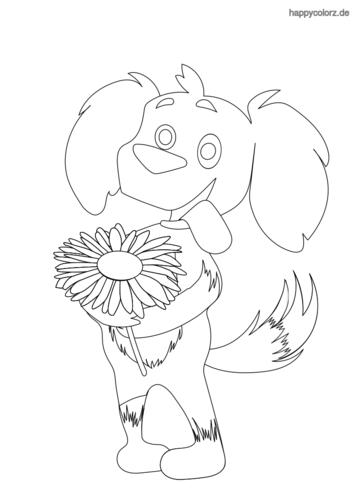 Hund mit Blume Ausmalbild