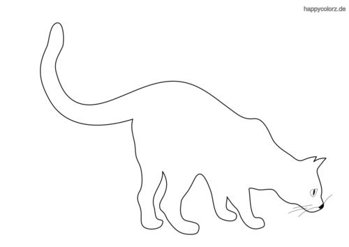 schnuppernde Katze Ausmalbild