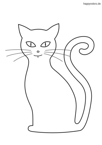 Silhouette Katze Ausmalbild